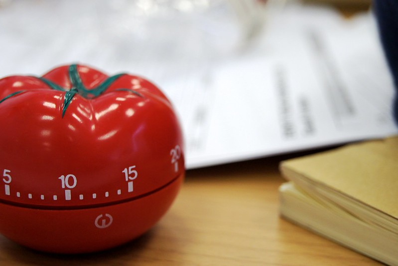 A classic tomato timer, perfect for time management.